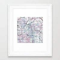 kansas city Framed Art Prints featuring Kansas city map by MapMapMaps.Watercolors