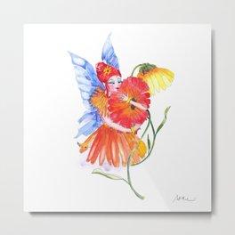 Calendula Flower Fairy Print Metal Print