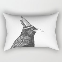 Willem Dacrowe Crow Wearing a Witch's Hat Rectangular Pillow
