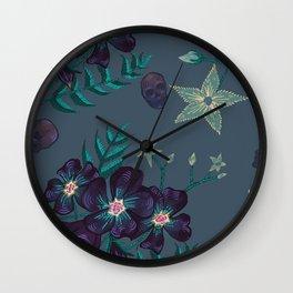Illustration digital art purple flower pattern with skull Wall Clock