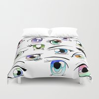 manga Duvet Covers featuring Manga Eyes by TAEMI.