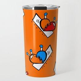 Hearts with Stitches - Blue Red Orange - Orange Travel Mug