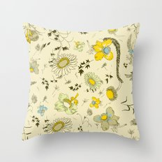 large flowers - cream and yellows Throw Pillow