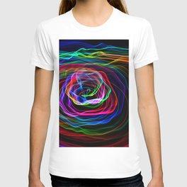 rainbow flower light painting T-shirt