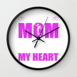 Volleyball Moms Full Heart Mothers Day T-Shirt Wall Clock