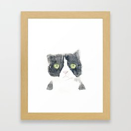 Thinking Cat Framed Art Print