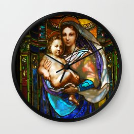 Mother Mary With Jesus Wall Clock