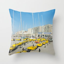 Sand yachting land yachting Throw Pillow
