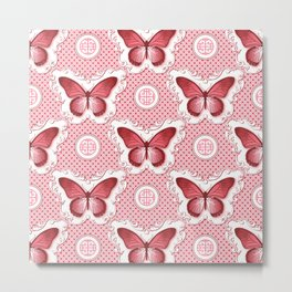 Chinoiseries Porcelain Butterfly Red Metal Print