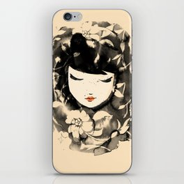 Ink Flower Girl iPhone Skin