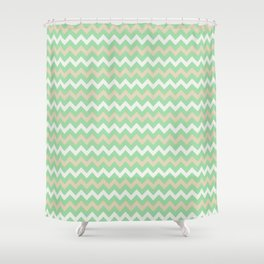Pastel Green, Beige & Linen White Chevron Line Pattern Pairs to Noe Mint 2020 Color of the Year Shower Curtain