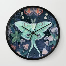 Luna Moth Wall Clock