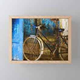 Blue Bicycle in Morocco Framed Mini Art Print