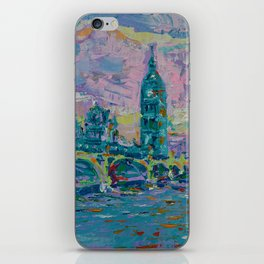 London Bridge - palette knife abstract city landscape with Big Ben iPhone Skin