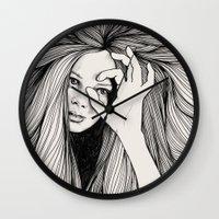 leo Wall Clocks featuring Leo by Hanna Viktorsson