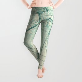 Philadelphia Map Blue Vintage Leggings