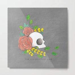 Charcoal Floral Skull Metal Print