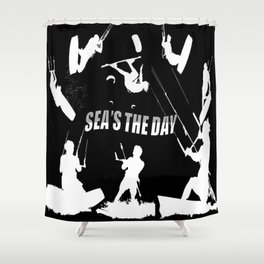 Seas The Day Kitesurfing Shower Curtain