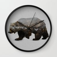 grey Wall Clocks featuring The Kodiak Brown Bear by Davies Babies
