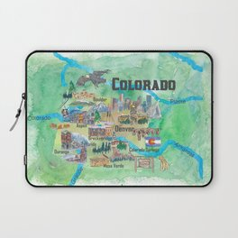 USA Colorado State Travel Poster Illustrated Art Map Laptop Sleeve