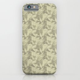 Abstract Geometrical Triangle Pattern Natural Olive Green - Martinique Dawn - Asian Silk iPhone Case