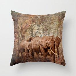 Elephants family on a walk Throw Pillow
