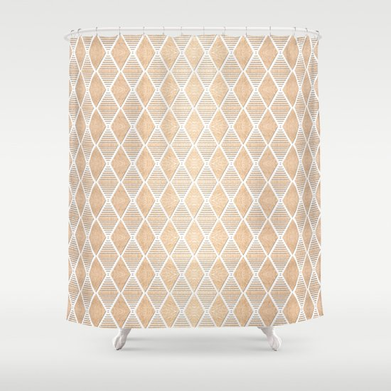 White and Copper Geometric Pattern Shower Curtain