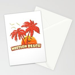 Mission Beach Vintage Sunset Stationery Cards