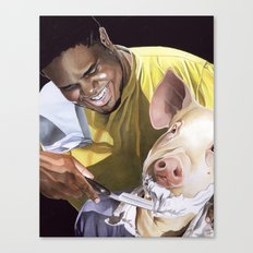 Shaving a Pig Canvas Print
