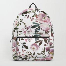 Blush rose pink green watercolor elegant floral Backpack