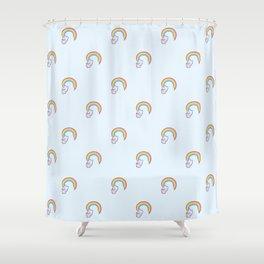 Kawaii proud rainbow cattycorn pattern Shower Curtain