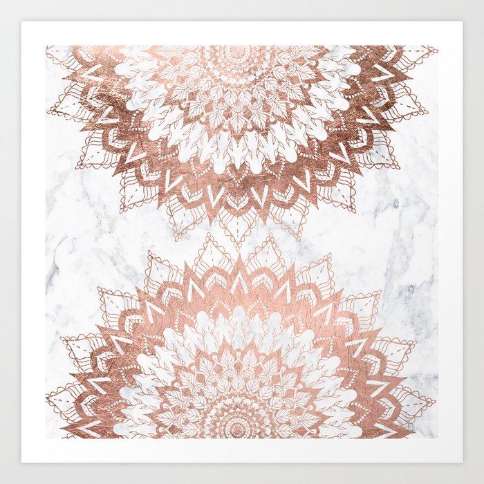 Modern chic rose gold floral mandala illustration on trendy white marble Art Print