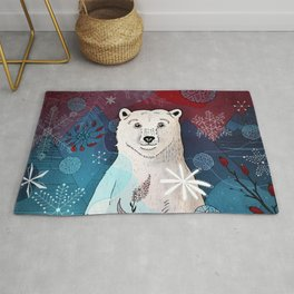 polar bear in snowflakes Rug