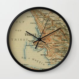Vintage Trieste Italy Map (1911) Wall Clock