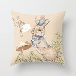 Bunny and Sparrow Throw Pillow