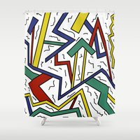 90s Shower Curtains featuring 90s or Bust by Cale potts Art