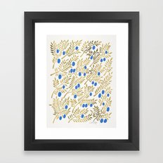 Olive Branches – Gold & Blue Framed Art Print