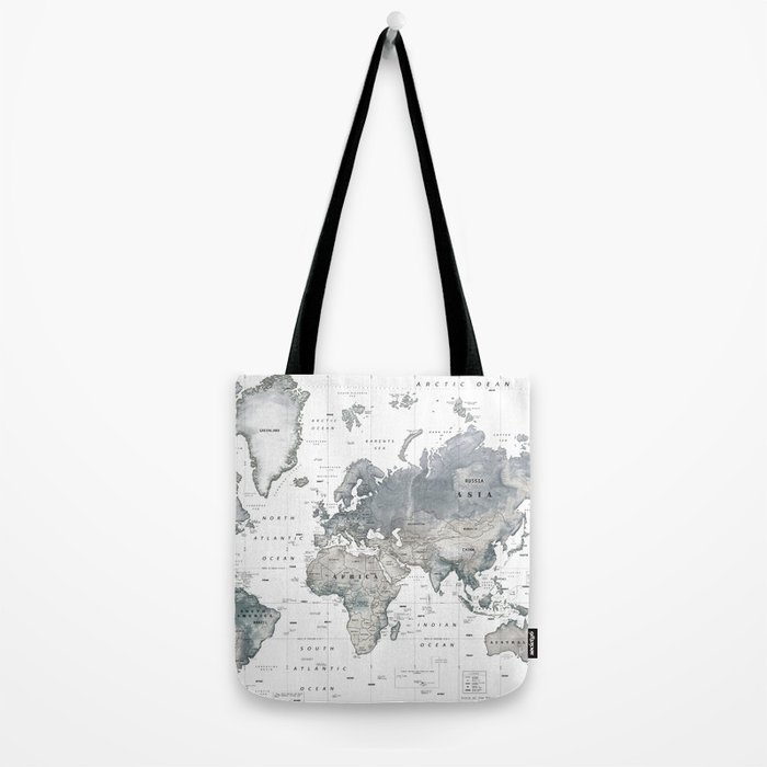 The World [Black and White Relief Map] Tote Bag