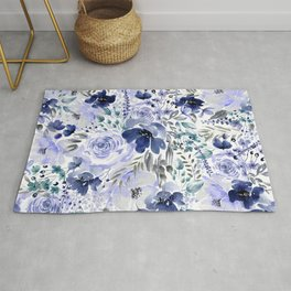 Floral Chaos - Blue Rug