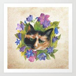 Calico Flower Cat Art Print