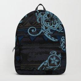 Hawaiian Teal Tribal Turtles Backpack