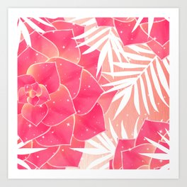 Big Dreamy Blush Echeveria Illustration Art Print