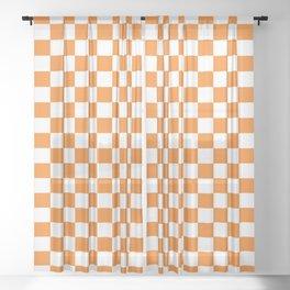 Orange Checkerboard Pattern Sheer Curtain