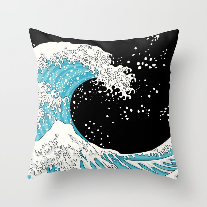 The Great Wave (night version) Throw Pillow