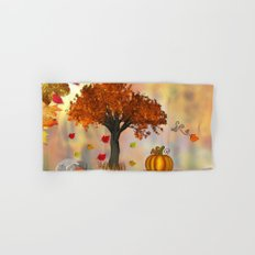 Autumn Squirrel Scene Hand & Bath Towel