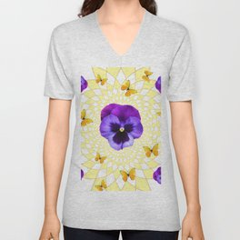 PANSY & YELLOW BUTTERFLIES  GEOMETRIC PATTERN Unisex V-Neck