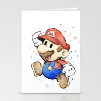 mario kart Stationery Cards featuring Mario Watercolor by Olechka