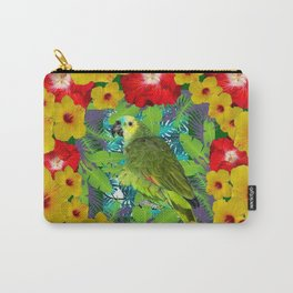 RED-YELLOW HIBISCUS & GREEN PARROT JUNGLE GRAY  ART n Carry-All Pouch