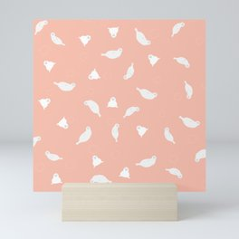 Baby Seal Pastel Coral Mini Art Print