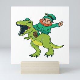 St Patricks Day Leprechaun Trex Dinosaur Kids Boys Mini Art Print